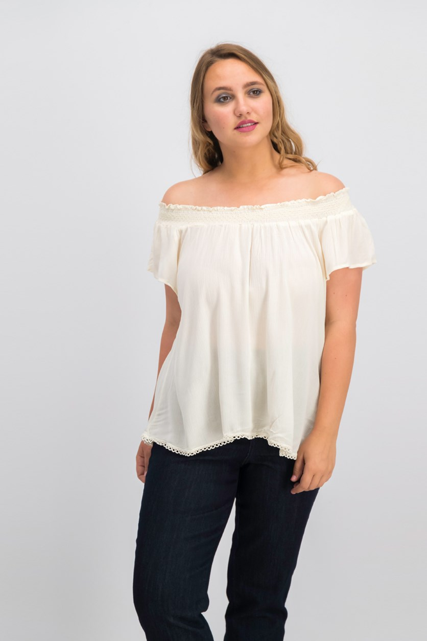 Juniors' Crochet Trim Peasant Top, Antique White
