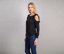 Self Esteem Juniors' Cold-Shoulder Top, Black