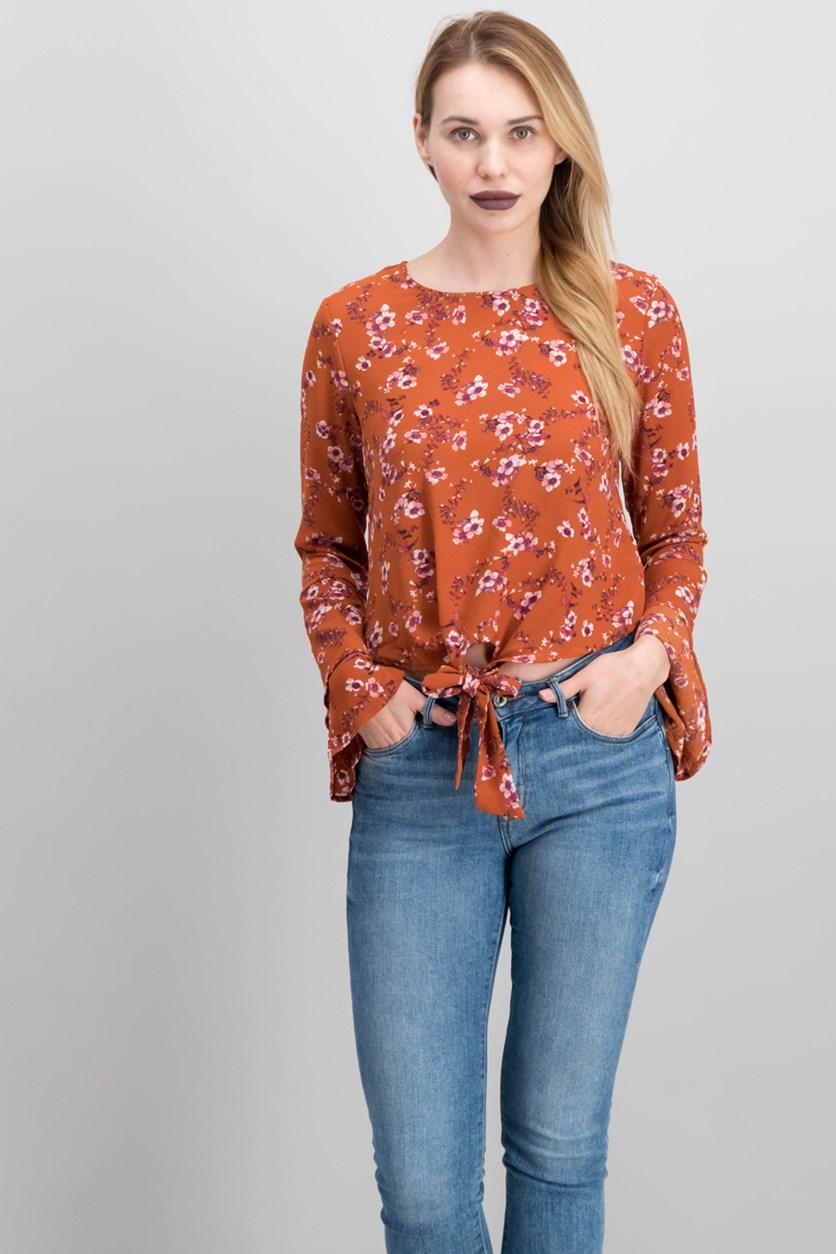 Juniors' Bell-Sleeve Tie-Front Top, Bali Sunset