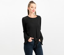 Self Esteem Juniors' Bell-Sleeve Tie-Front Top, Black