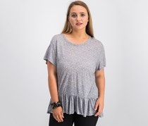 Calvin Klein Jeans Linen-Blend Peplum Top, Cold Stone Heather