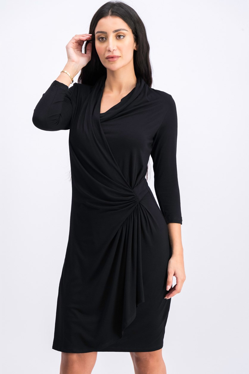 Women's Cascade Faux Wrap Dress, Black