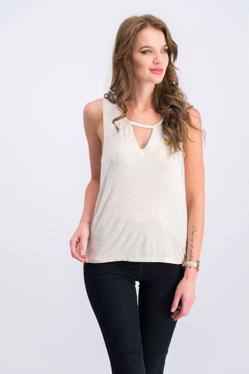 Juniors Charm Tank Top, Heather Oatmeal
