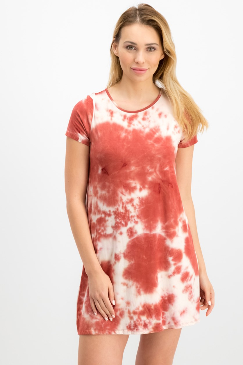 Women  Juniors Tie-Dyed T-Shirt Dress, Burnt Orange/Ivory