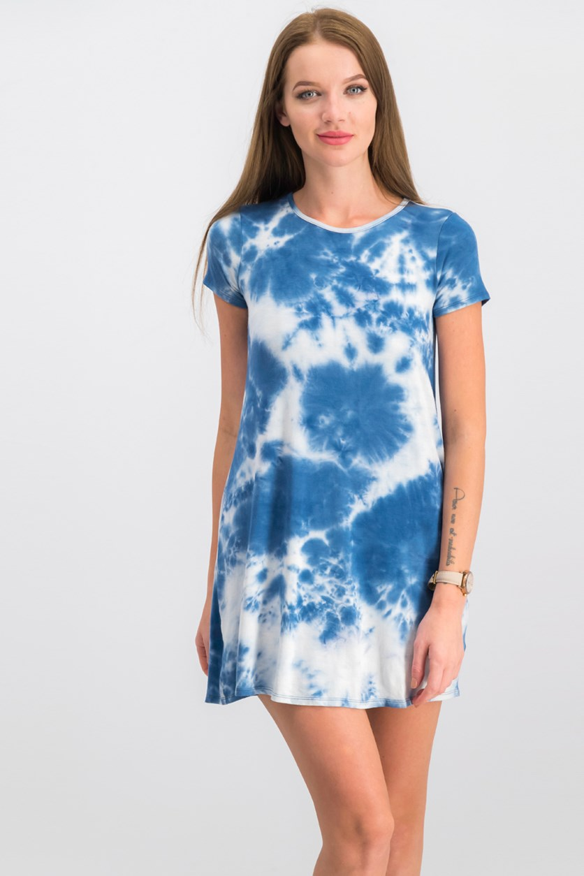 Juniors' Tie-Dyed T-Shirt Dress, Blue