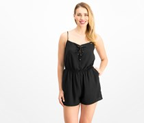 One Clothing Juniors' Lace-Up Romper, Black