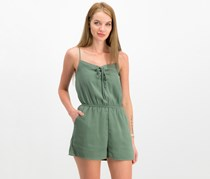 One Clothing Juniors' Lace-Up Romper, Dark Sage