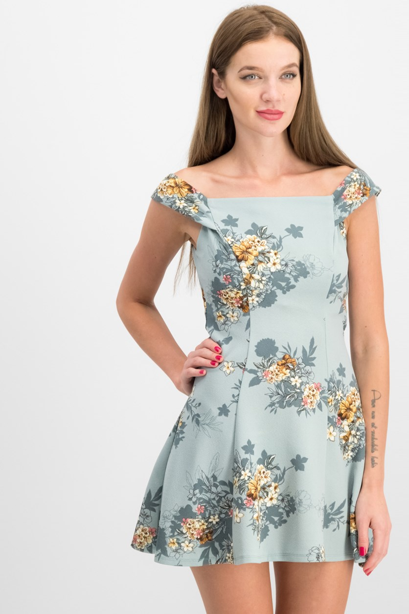 Juniors' Off-The-Shoulder A-Line Dress, Sage
