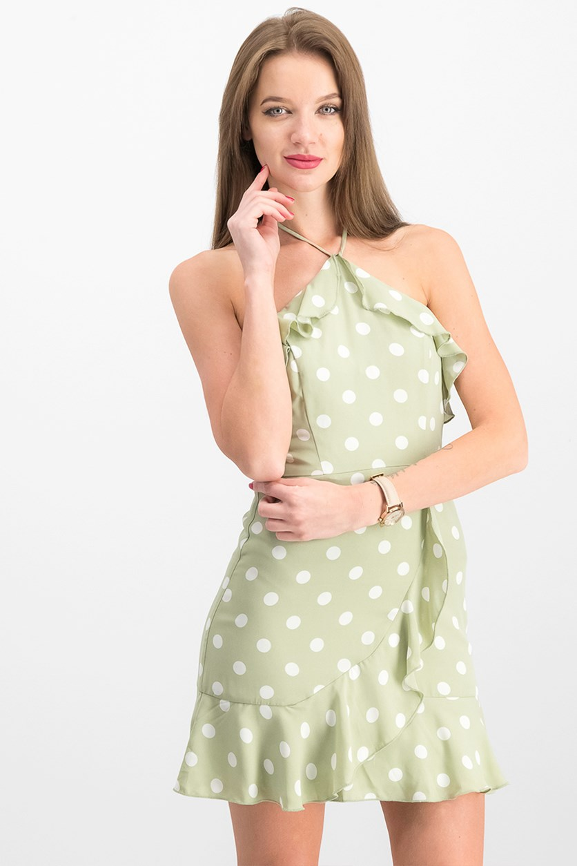Juniors' Ruffled Polka-Dot Halter Dress, Sage