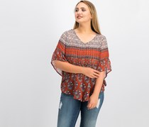 Petite Printed Pintucked Peasant Top, Sienna Medley