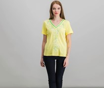 Alfred Dunner Women's Petites Embroidered V-Neck Pullover Top, Yellow