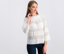 Say What? Juniors' Off-The-Shoulder Lace-Stripe Top, White