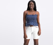 Say What? Women's Polka Dots Smoked Crop Top, Navy