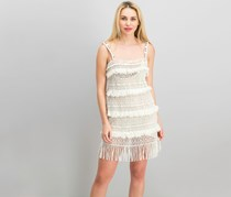 Nicole Miller Crochet Fringe Dress, Cream