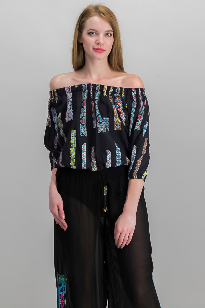 Women Petite Off-the-Shoulder Patterned Top, Black Combo