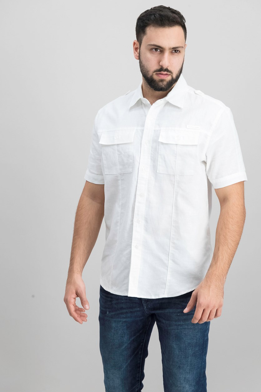 Men's Dual Pocket Linen Shirt, Bright White