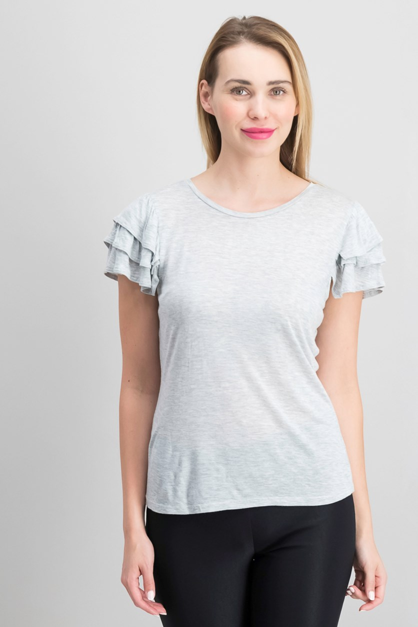 Ruffled Short-Sleeve Top, Heather Grey