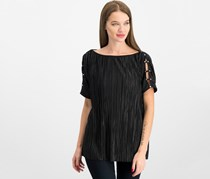 JM Collection Pleated Boat-Neck Top, Deep Black