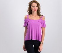 Ultra Flirt Juniors' Cold-Shoulder Flutter Sleeve Top, Light Berry