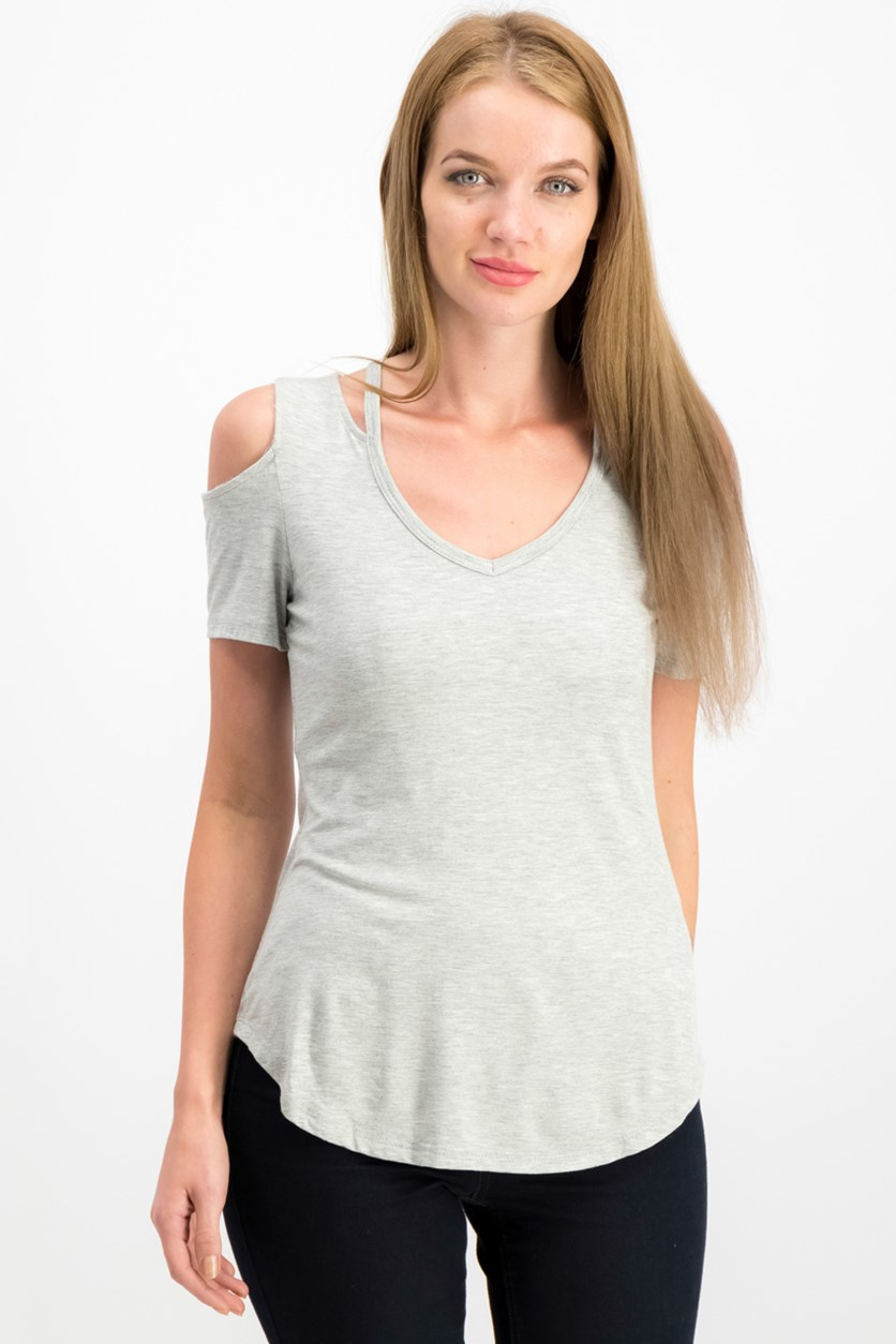 Women Juniors Cold-Shoulder Top, Heather Grey