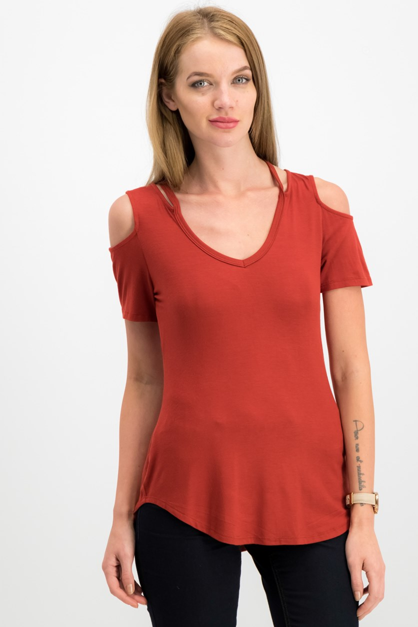 By Ikeddi Juniors' Cold-Shoulder Top, Rust