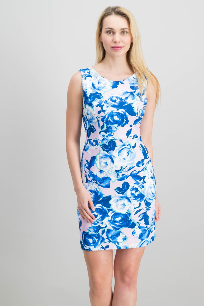 Printed Cutout-Back Scuba Sheath Dress, Blue/Blush