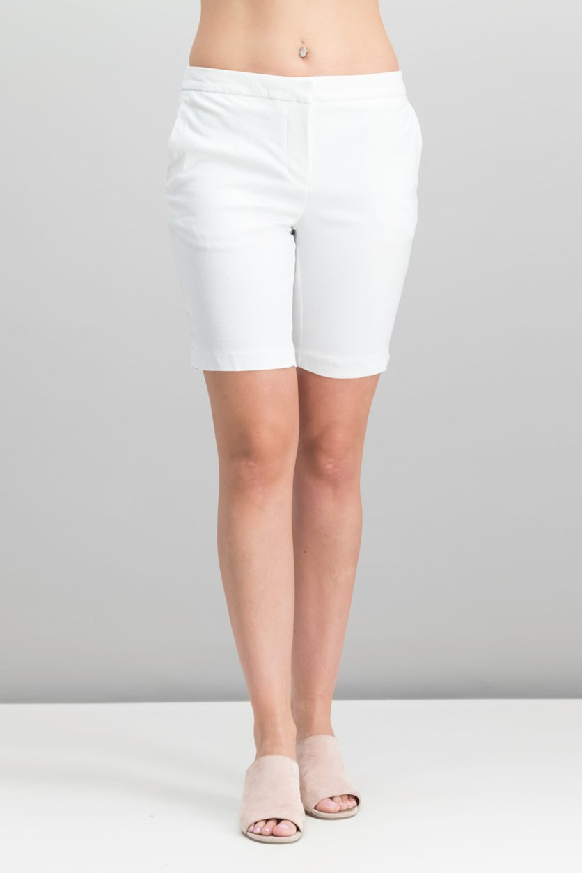 Ladies Woven Bermuda Short, White