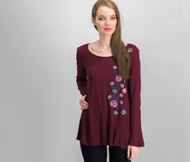 Bell-Sleeve Embroidered Top, Maroon