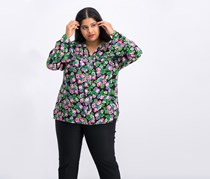 Ny Collection Plus Size Floral-Print Top, Black Yungarden