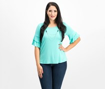 Ny Collection Petite Ruffle-Sleeve Attached-Necklace Top, Turquoise