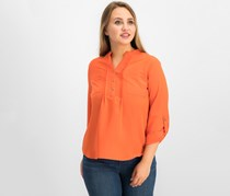 NY Collection Women Petite Utility Top, Dark Orange