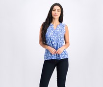 NY Collection Petite Printed Pleated Top, Blue Skyterrace