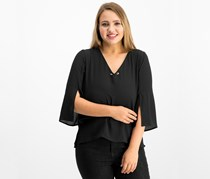 Ny Collection Women's Petite Toggle Neck Split Sleeve Top, Black