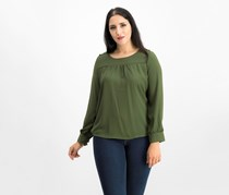 Ny Collection Petite Button-trim Top, Riffle Green