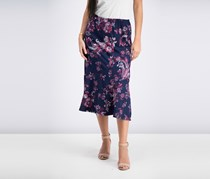 NY Collection Women's Petite Printed Pull-On Skirt, Raspberry/Navy