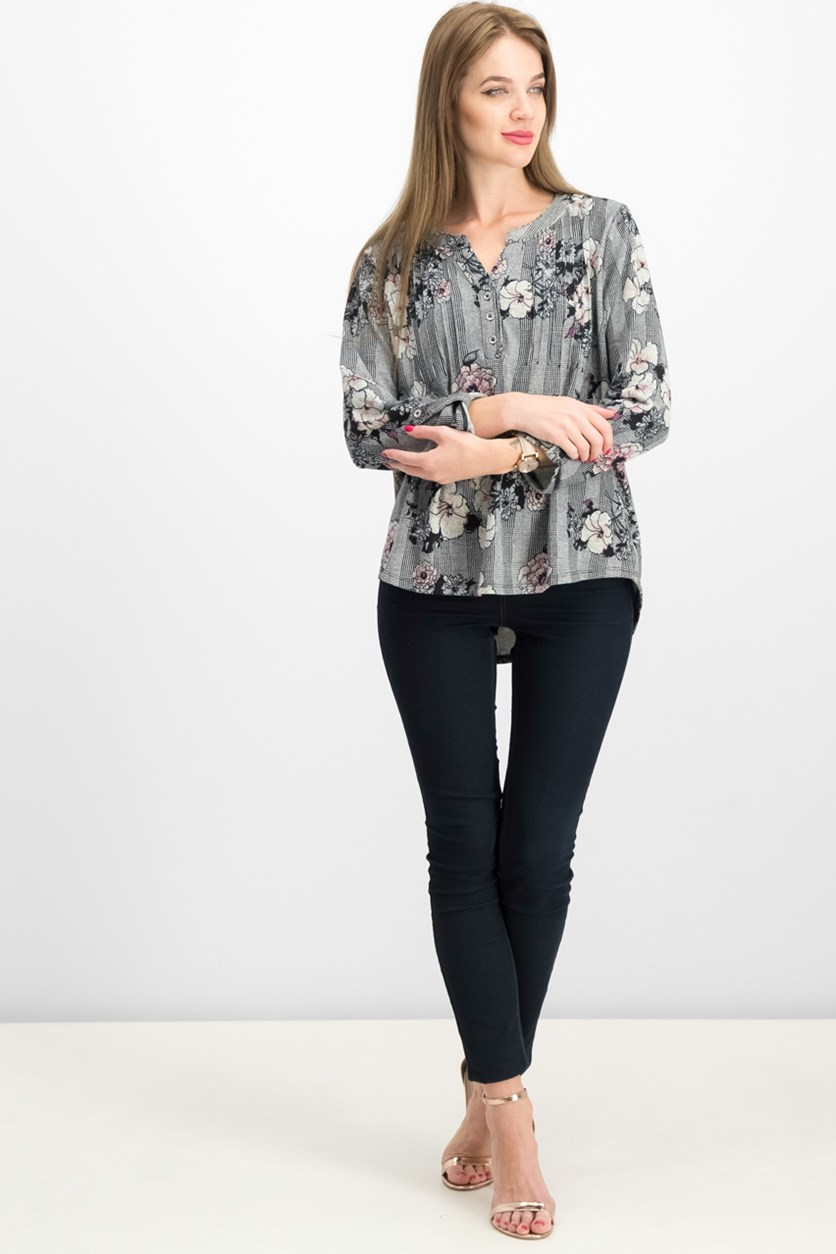 Women's Petite Printed Pintuck Top, Black/Grey Combo