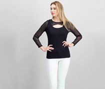 INC Cutout Illusion Top, Deep Black