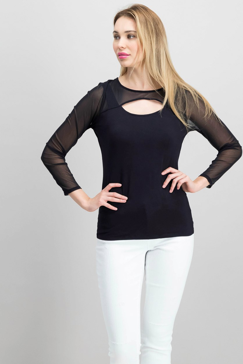 Cutout Illusion Top, Deep Black