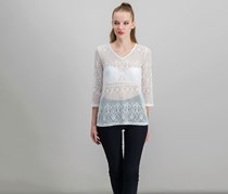 Alfani Petite Lace Tunic, Bright White