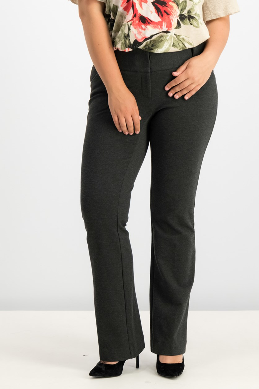 Straight-Leg Trousers, Coal Melange