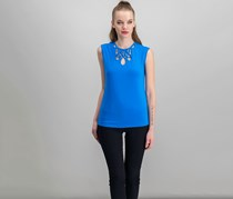 INC Petite Cutout Cap-Sleeve Top, Caribe Blue