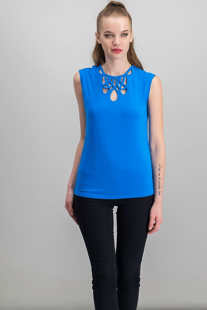Petite Cutout Cap-Sleeve Top, Caribe Blue