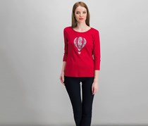 Karen Scott Petite Embellished Balloon Graphic Top, New Red Amore