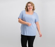 Karen Scott Square-Neck Top, Light Blue Heather