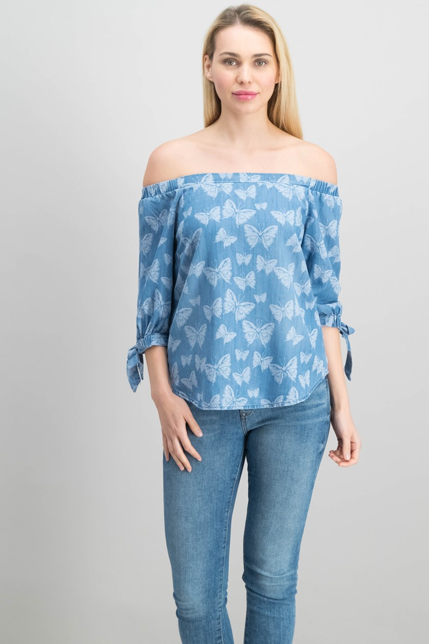 International Concepts Off-The-Shoulder Tie-Cuff Top, Indigo