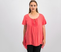 Style & Co Crochet-Trim Handkerchief-Hem Top, Aurora Rose