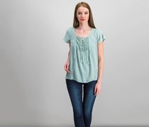 Style & Co Petite Crochet-Detail Top, Dusty Jade