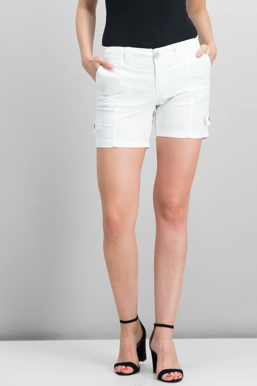 Petite Zig-Zag Cargo Shorts, Bright White