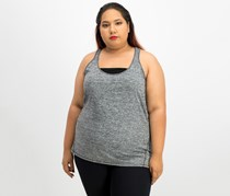Ideology Heathered Racerback Tank Top, Noir