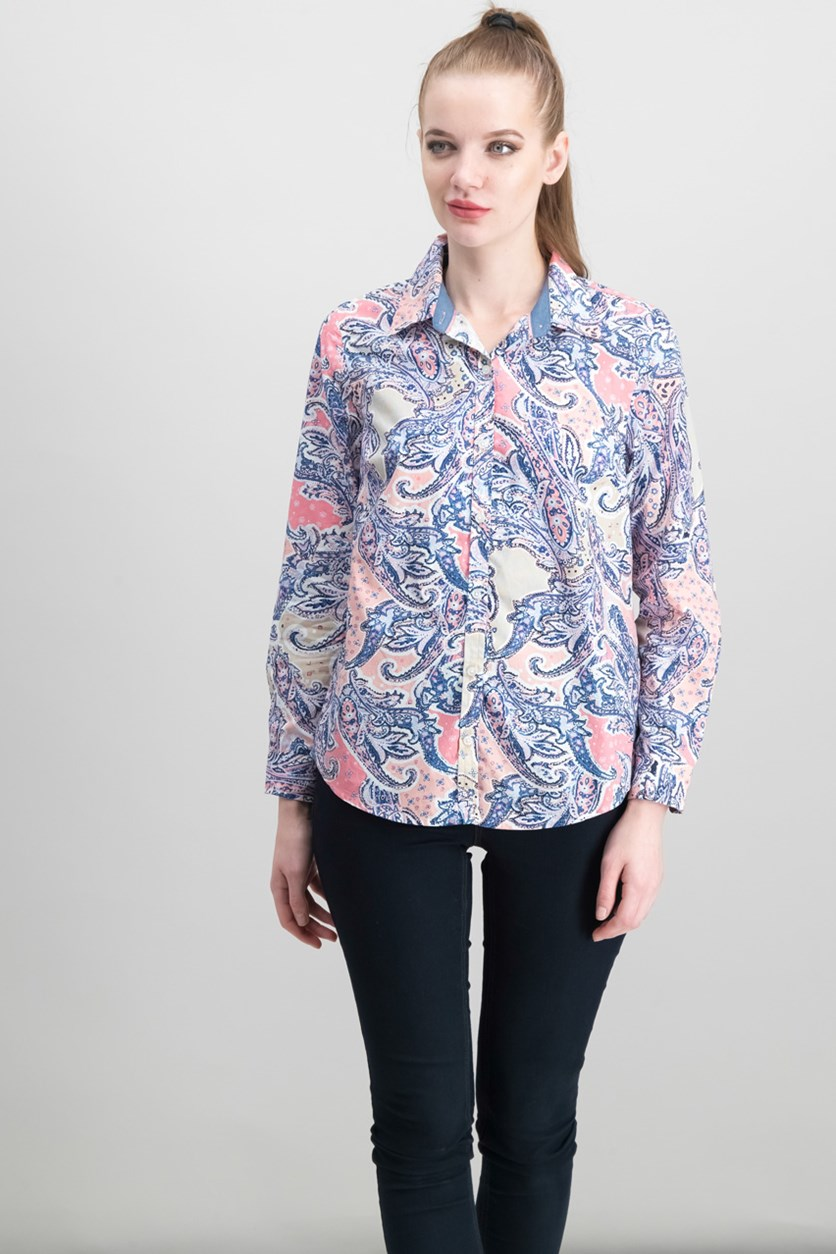 Petite Cotton Paisley-Print Shirt, Peach Blush Combo